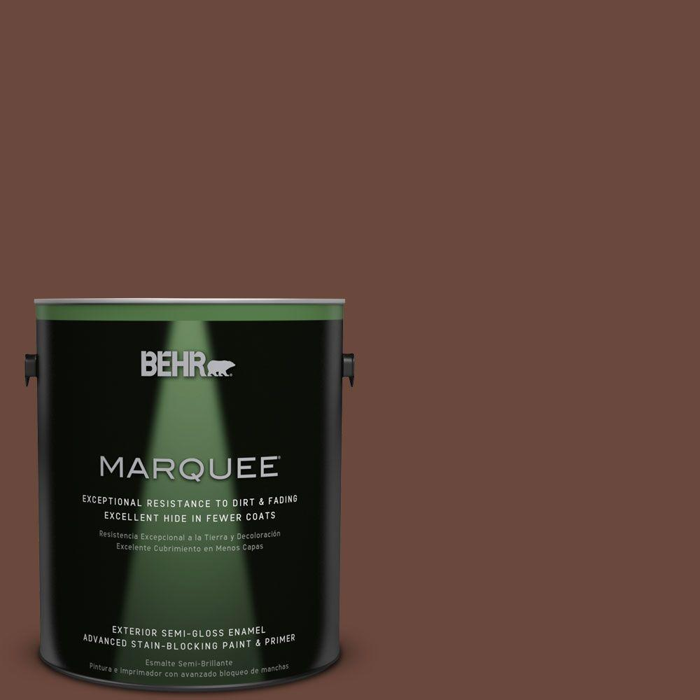 Behr Marquee 1 Gal Bxc 45 Classic Brown Semi Gloss Enamel Exterior Paint 545301 The Home Depot