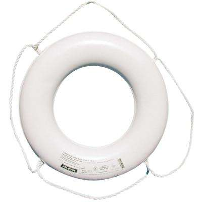 24 in. Closed Cell Foam Life Ring with Rope Molded into Core in White