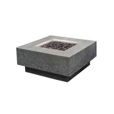 Manhattan 36 in. x 16 in. Square Concrete Natural Gas Fire Pit Table in Light Gray