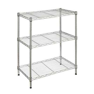 3-Tier Metal Garage Storage Shelving Unit in Chrome (24 in. W x 30 in. H x 14 in. D)