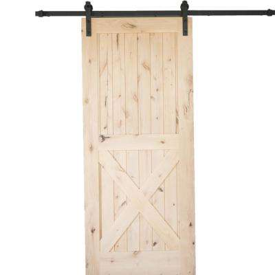 36 in. x 84 in. Krosswood Knotty Alder 2 Panel Single X Solid Wood Core Interior Barn Door Slab