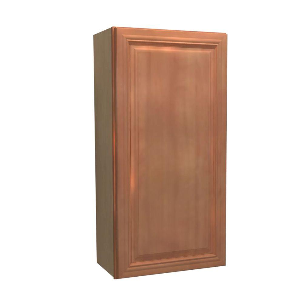 Home Decorators Collection Dartmouth Assembled 12x42x12 in. Single Door Hinge Left Wall Kitchen Cabinet in Cinnamon