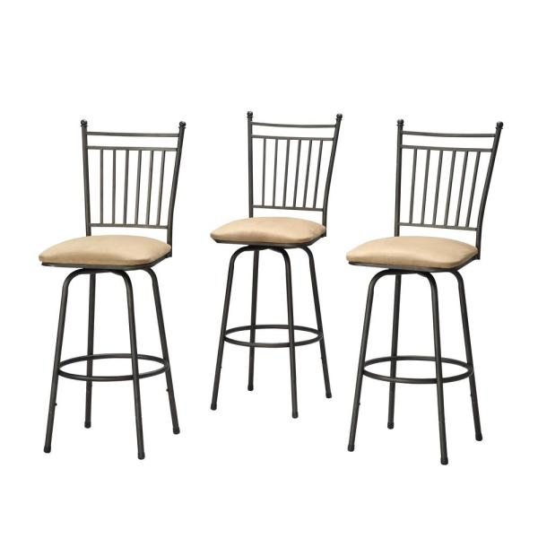 Linon Home Decor Adjustable Height Brown Swivel Cushioned Bar Stool (Set of 3)