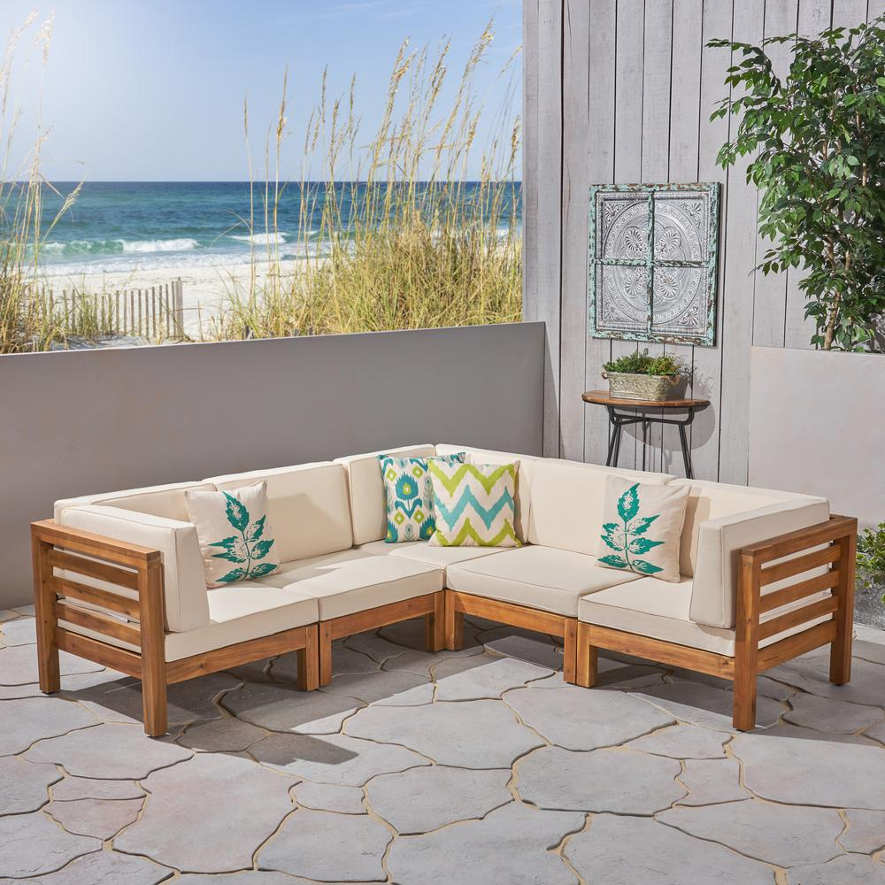 Noble House Jonah Teak 5-Piece Wood Outdoor Sectional with Beige Cushions