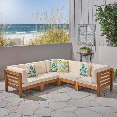 Jonah Teak 5-Piece Wood Outdoor Sectional with Beige Cushions