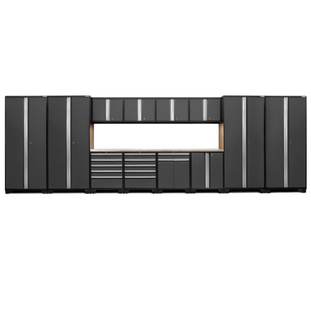 Pro 3.0 83.25 in. H x 256 in. W x 24 in. D 18-Gauge Welded Steel Stainless Steel Worktop Cabinet Set in Gray (14-Piece)