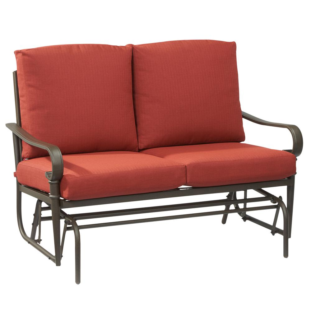 Oak Cliff Metal Outdoor Glider with Chili Cushions