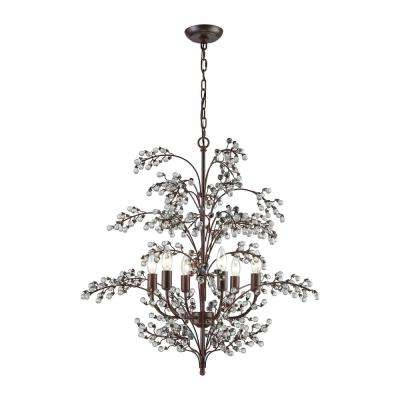 Winterberry 6-Light Antique Darkwood with Clear Glass Balls Chandelier