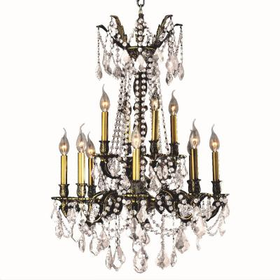 Windsor 12-Light Antique Bronze Chandelier with Clear Crystal