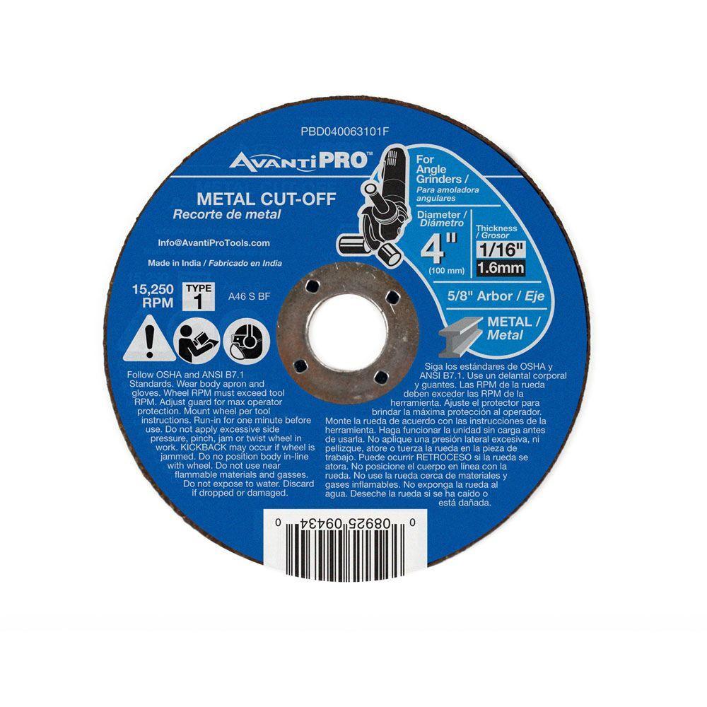 4 in. x 1/16 in. x 5/8 in. Type 1 Metal Cut-Off Disc
