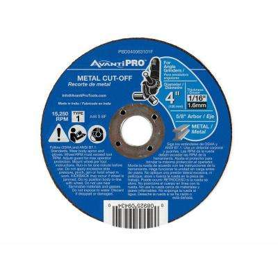 4 in. x 1/16 in. x 5/8 in. Type 1 Metal Cut-Off Disc
