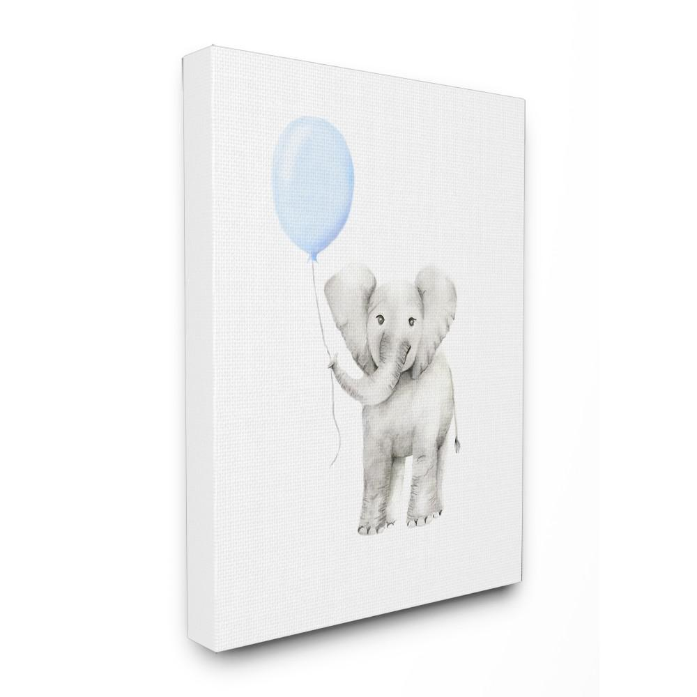 stupell industries 16 in x 20 in baby elephant with blue balloon