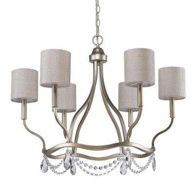 Margaret 6-Light Indoor Washed Gold Chandelier with Fabric Shades