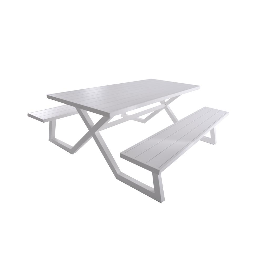 Banquet White Rectangle Aluminum Picnic Table with Attached Bench Seating