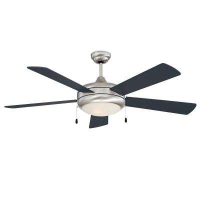 Neptune 52 in. Stainless Steel Ceiling Fan with Light Kit and 5 Blades