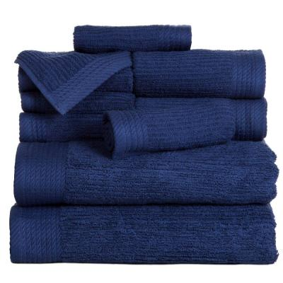 Ribbed Egyptian Cotton Towel Set in Navy (10-Piece)
