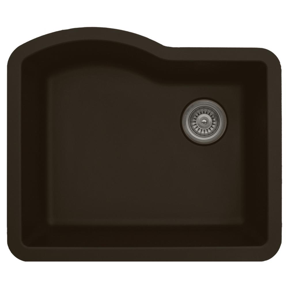 Undermount Quartz Composite 24 in. Single Bowl Kitchen Sink in Brown