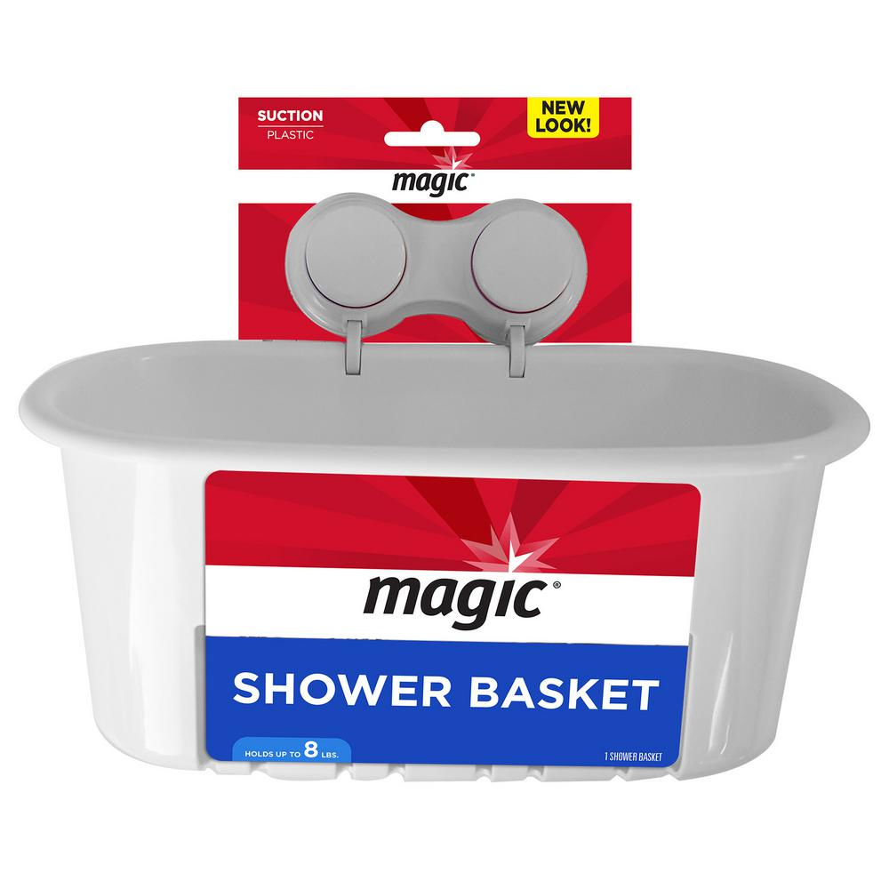 Magic Suction Shower and Bath Basket in White-3001 - The Home Depot