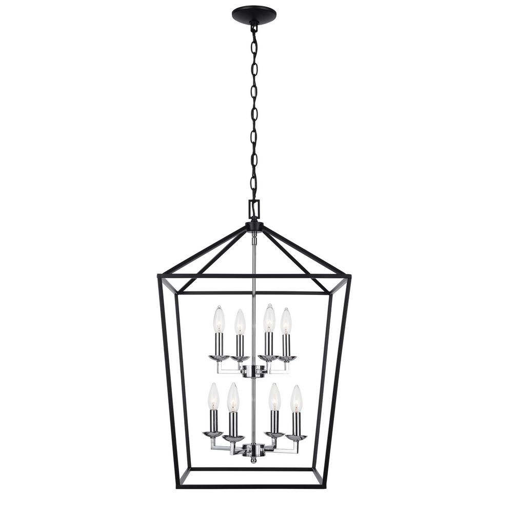 Home Decorators Collection Weyburn 8-Light Black and Polished Chrome Caged Chandelier