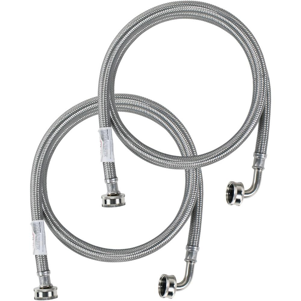 CERTIFIED APPLIANCE ACCESSORIES 5 ft. Braided Stainless Steel Washing Machine Hoses with Elbow (2-Pack), Silver For years, licensed plumbers, electricians and appliance installers have relied on CERTIFIED APPLIANCE ACCESSORIES for their power cords, hoses and connectors. Now you can too. Enjoy the convenience offered by this 2 pack of washing machine hoses from CERTIFIED APPLIANCE ACCESSORIES. Their flexibility and durability ensure a reliable connection for your next home installation project. These high-quality washing machine hoses have been thoroughly tested and are backed by a 5-year limited warranty. Always consult your appliances installation instructions. Check your appliance's manual for the correct specifications to ensure these are the right hoses for you. Thank you for choosing CERTIFIED APPLIANCE ACCESSORIES Your Appliance Connection Solution. Color: Stainless Steel.