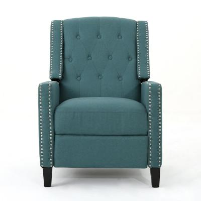 Izidro Tufted Dark Teal Fabric Recliner with Stud Accents