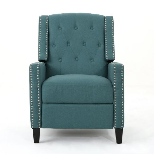 Noble House Izidro Tufted Dark Teal Fabric Recliner with Stud Accents