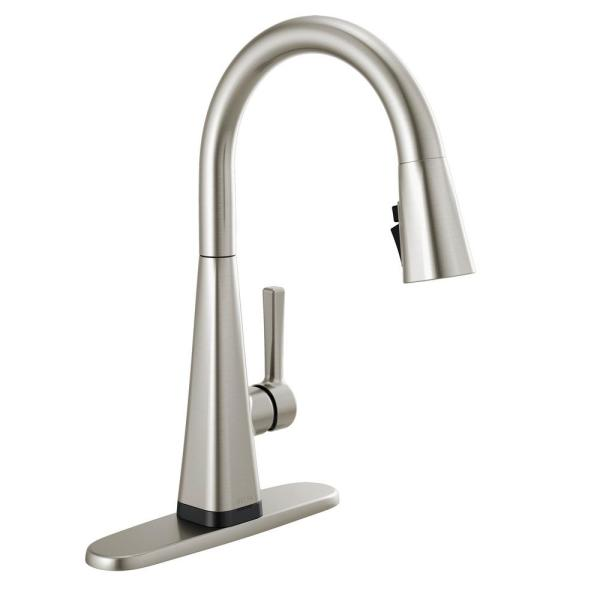 Delta Lenta Touch Single Handle Pull Down Sprayer Kitchen Faucet With Shield Spray Technology In Spot Shield Stainless 19802tz Sp Dst The Home Depot