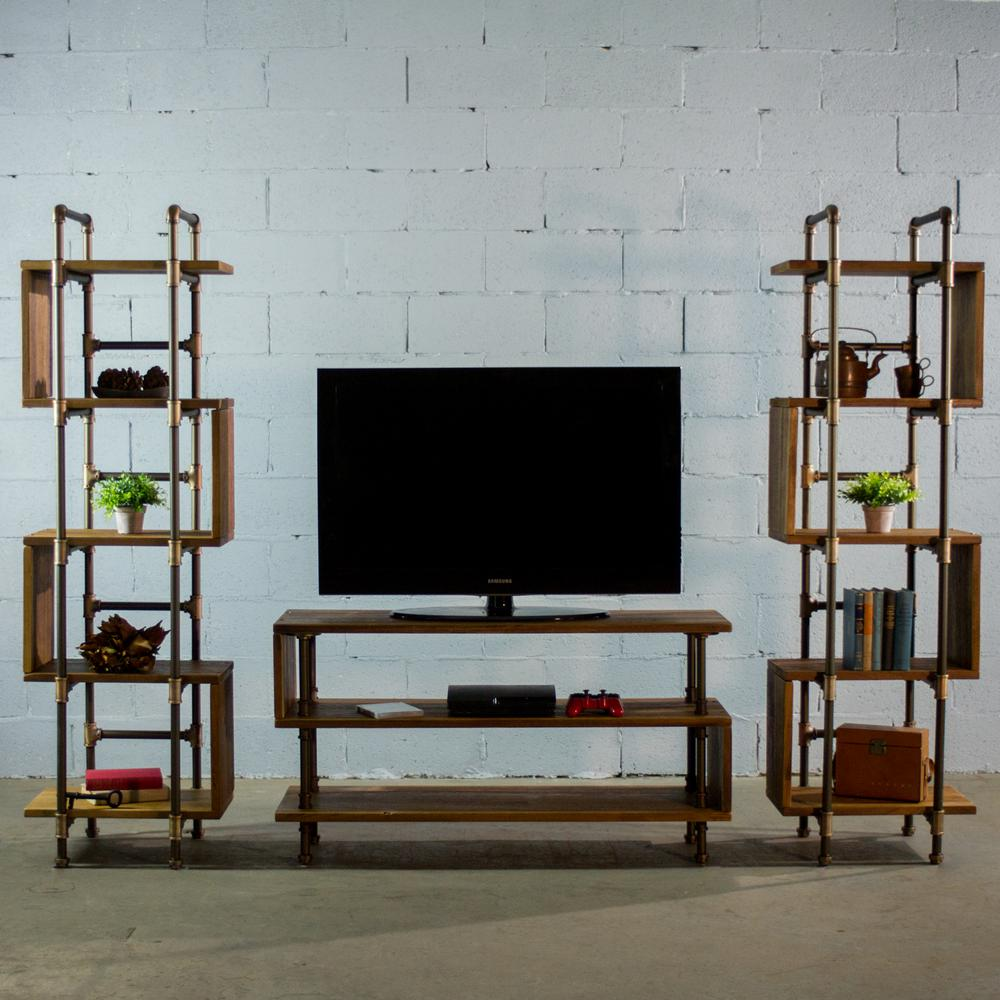 Furniture pipeline tucson modern industrial brown tv media stand entertainment center console