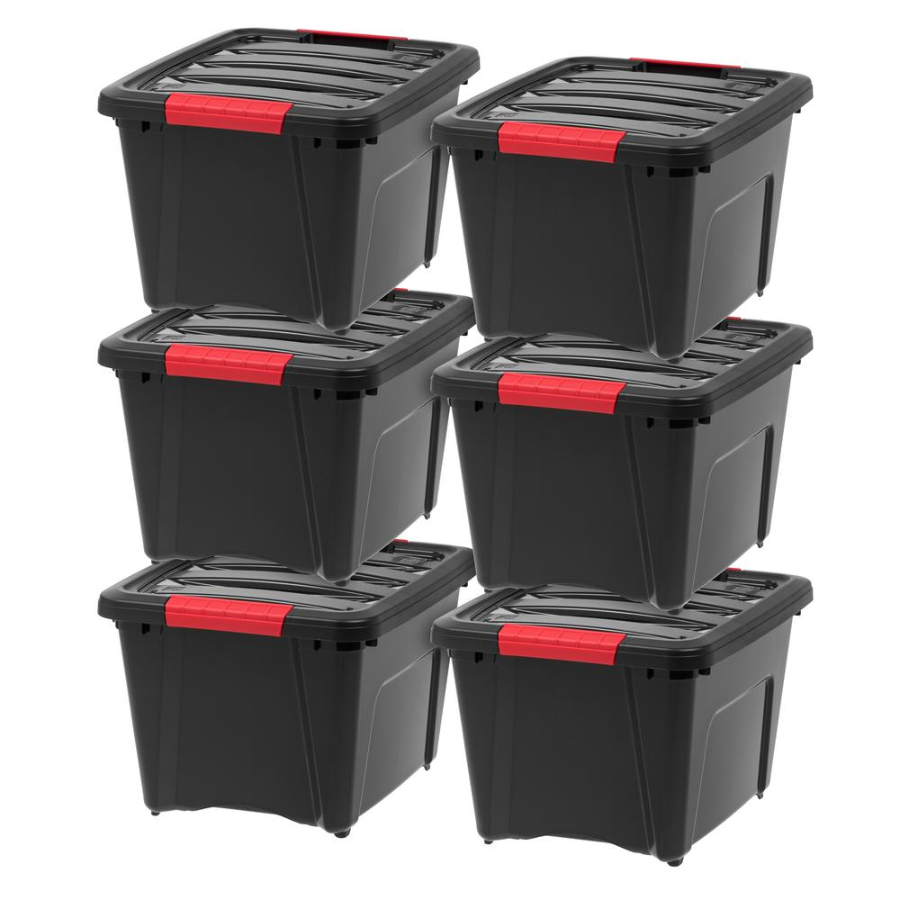 IRIS 19 Qt. Stack and Pull Storage Box in Black (6-Pack)
