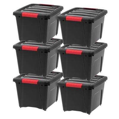 19 Qt. Stack and Pull Storage Box in Black (6-Pack)