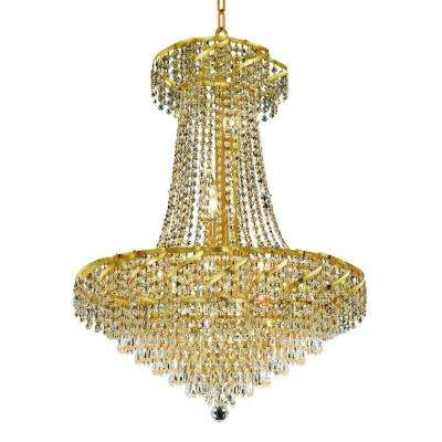 15-Light Gold Chandelier with Clear Crystal
