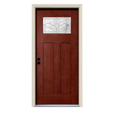 36 in. x 80 in. Black Cherry Right-Hand 1-Lite Craftsman Carillon Stained Fiberglass Prehung Front Door with Brickmould