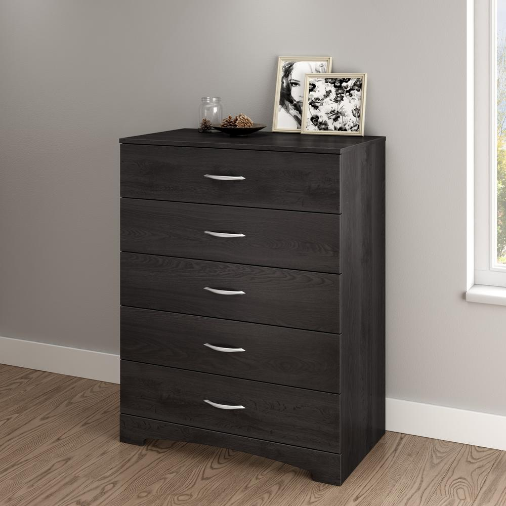 South Shore Step One 5-Drawer Grey Oak Chest