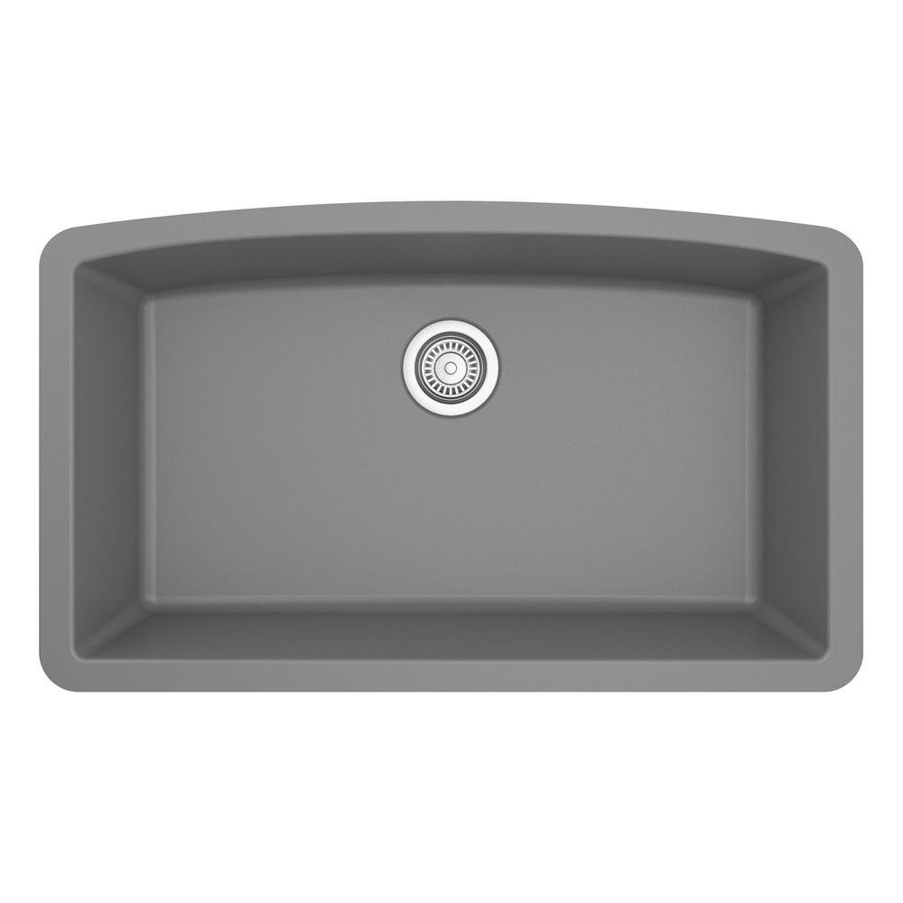 Undermount Quartz Composite 32 in. Single Bowl Kitchen Sink in Grey