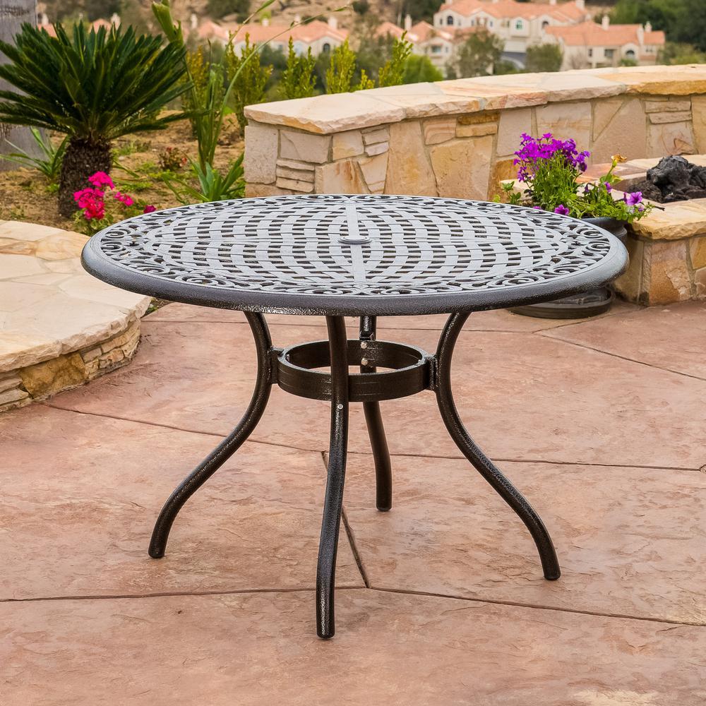 Phoenix Hammered Bronze Round Aluminum Outdoor Dining Table