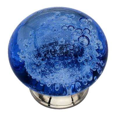 1-1/2 in. Azure Bubbled Glass Cabinet Knob