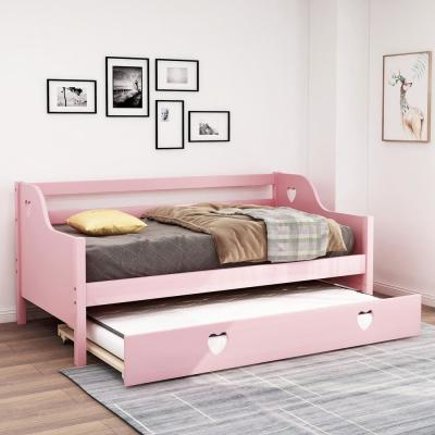 Urban Twin Platform Daybed with trundle, Upholstered loving shape, Pink