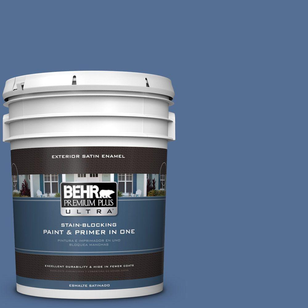 BEHR Premium Plus Ultra 5-gal. #M530-6 Charter Blue Satin Enamel Exterior Paint
