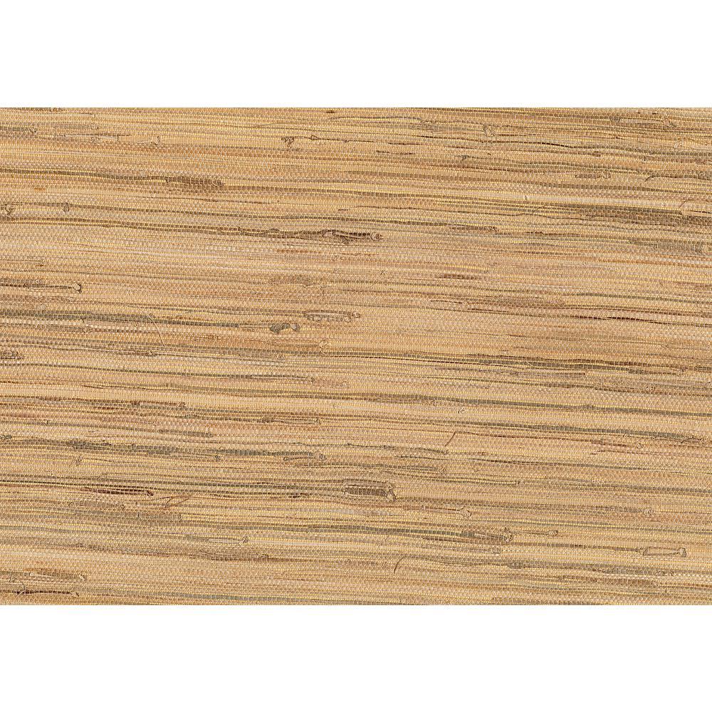 Kenneth James 72 sq. ft. Natsuki Taupe Grasscloth Wallpaper 53-65650