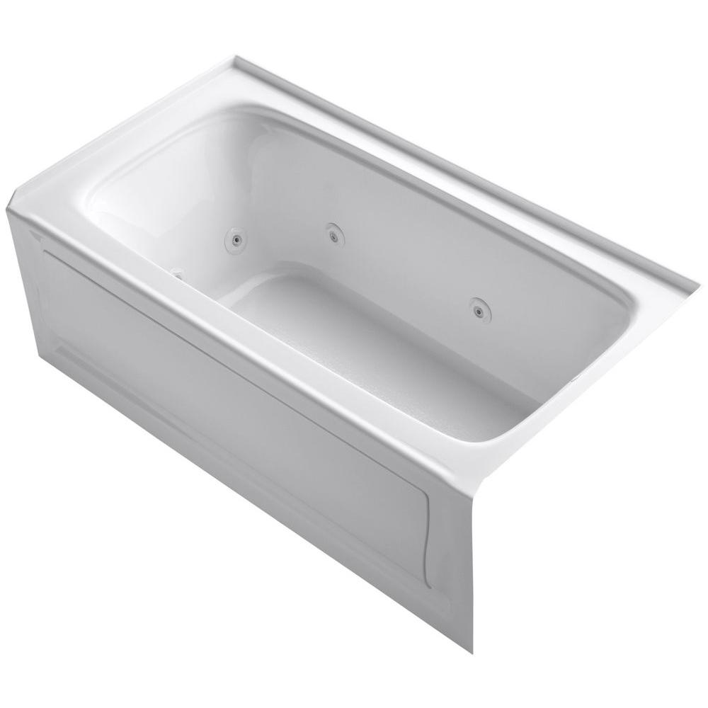KOHLER Bancroft 5 ft. Acrylic Right Drain Rectangular Alcove Whirlpool Bathtub in White