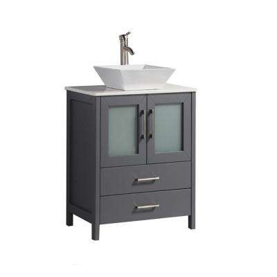 Dijon 24 in. W x 18 in. D x 36 in. H Vanity in Grey with Quartz Vanity Top in White with White Basin