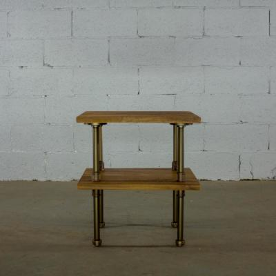 Brushed Bronze Industrial Pipe 2-Tier End Table with Reclaimed-aged Wood