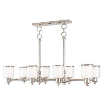 Middlebush 8-Light Polished Nickel Linear Chandelier with Hand Crafted Clear and Satin Opal White Glass Shade