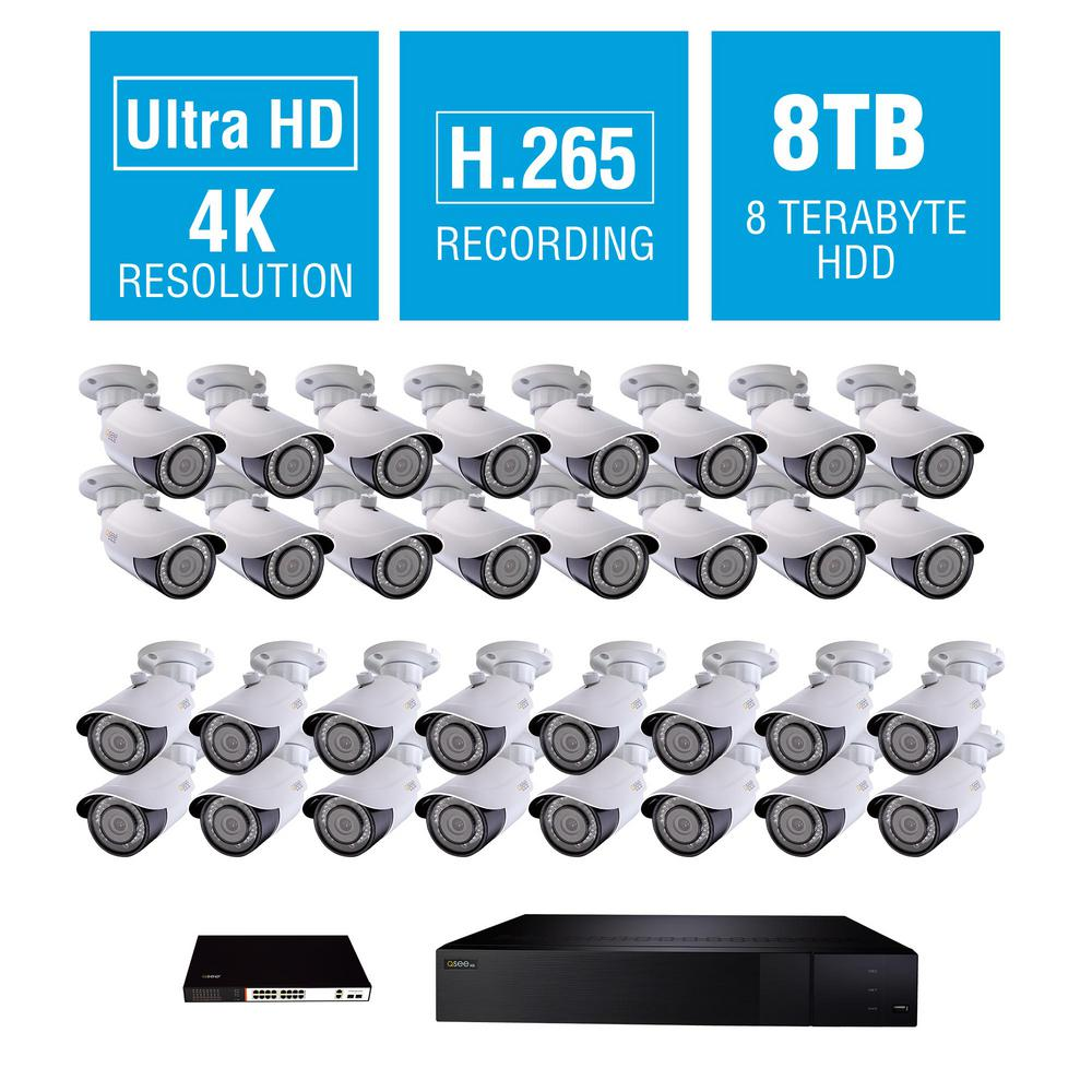 32-Channel 4K 8TB NVR Surveillance System with 4K 32-Bullet Cameras and