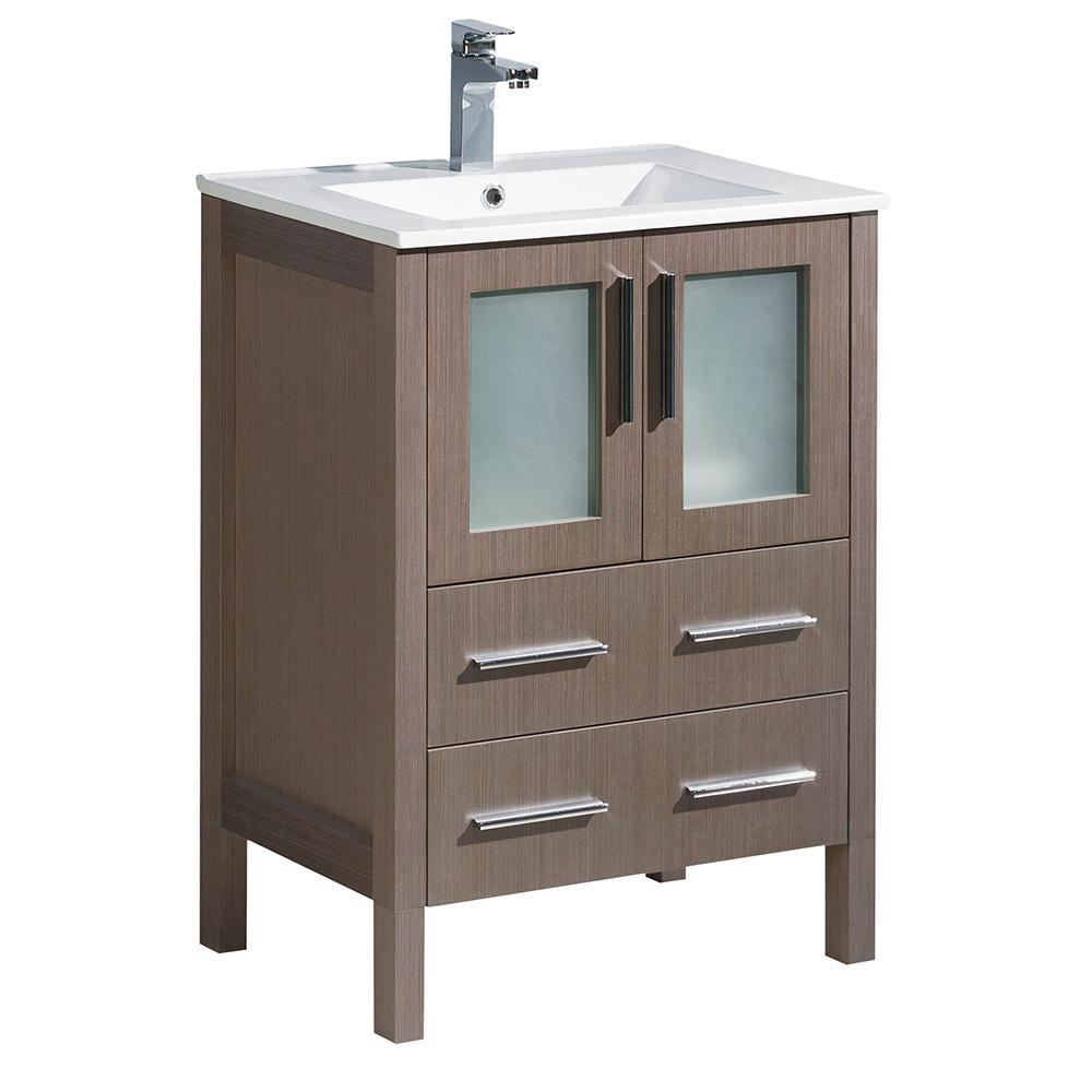 Torino 24 in. Bath Vanity in Gray Oak with Ceramic Vanity