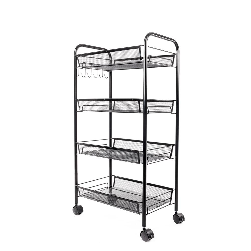 4-Tiers Iron Exquisite Honeycomb Net Storage Cart Rack Organizer Shelf in
