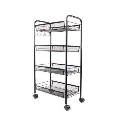 4-Tiers Iron Exquisite Honeycomb Net Storage Cart Rack Organizer Shelf in Black