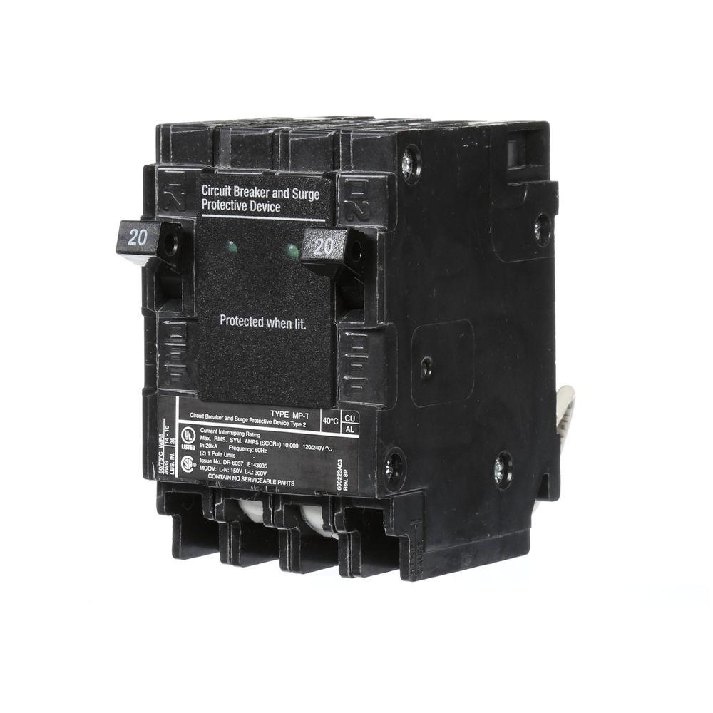 Murray 20 Amp 6.5 in. Whole House Surge Protected Circuit Breaker ...