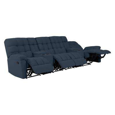 4-Seat Tufted Recliner Sofa with 2-Storage Consoles and USB Ports in Caribbean Blue Plush Low-Pile Velvet