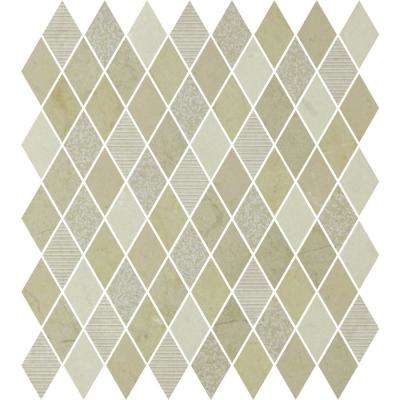 Marble Medley Crema Marfil Diamond 12 in. x 12 in. x 7.9 mm Mixed Finish Marble Mesh-Mounted Mosaic Tile
